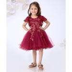 Short Sleeves Frock Floral Embroidered – Maroon