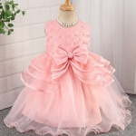 Sleeveless Party Frock Bow Design – Pink