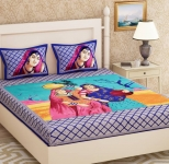 Metro Living 104 TC Cotton Double Printed Bedsheet  (Pack of 1, Blue)