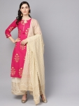 Nayo Women Pink & Cream-Coloured Printed Kurta