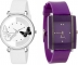 Dual White And Black Butterfly And Purple Analog Watch