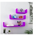 Onlineshoppee U Shape Floating MDF Wall Shelves Set of 3