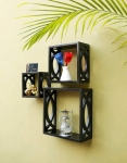 Onlineshoppee Wooden Wall Shelf  (Number of Shelves – 3, Black)