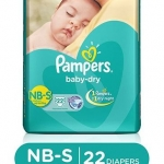 Pampers Baby Dry Diapers New Born To Small – 22 Pieces