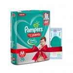 Pampers Combo Pack Medium Size Diapers, Baby Wipes