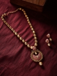 Only at Rs. 829 Pink Pearls Beaded Enamelled Handcrafted Jewellery Set