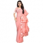Pari Designerr Peach Color Ruffle Saree With Blouse
