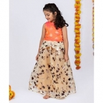 Peplum Brocade Choli With Gold Foil Leaf Printed Ghagra