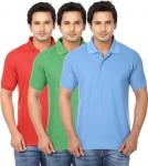 Ansh Fashion Wear Men Regular Fit Polo Neck Solid T-Shirt – Multi