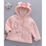 Full Sleeves Bow Decorated Hooded Jacket – Pink