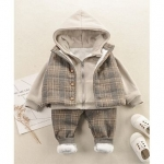 Hooded Jacket With Checked Coat & Pants Set – Beige