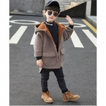 Full Sleeves Letter Patch Hooded Coat – Brown