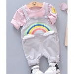 T-Shirt With Rainbow Patch Dungaree – Grey