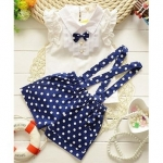 Awabox Sleeveless Top & Polka Dot Print Shorts Set – Navy Blue