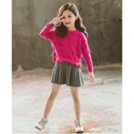 Solid Full Sleeves Knitted Sweater With Skirt – Pink