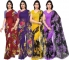 Printed Daily Wear Georgette Saree  (Pack of 4, Multicolor)