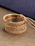Priyaasi Set of 16 Gold-Plated Handcrafted Bangles