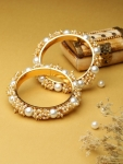 Priyaasi Set Of 2 Gold Plated Beaded Handcrafted Bangles