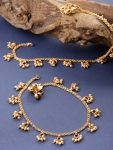 Set Of 2 18 K Gold-Plated Beaded Handcrafted Anklets