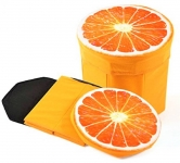 3D- CUTE CARTOON ORANGE FRUIT FOLDING STOOL