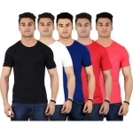 Red Code Half Sleeves Round Neck T-shirts for Mens