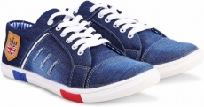 Red Rose  Canvas Shoes For Men  (Blue)