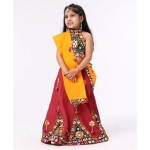 Mirror Work Flower Embroidered Choli, Lehenga, Dupatta
