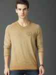 Roadster Men Khaki Solid T-shirt