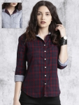 Navy Blue & Red Regular Fit Checked Reversible Shirt