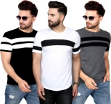 Only at Rs. 664 Pack of 3 Striped Men Round Neck T-shirt