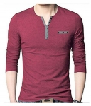 SEVEN SEA Maroon Full Sleeve T-Shirt Pack of 1