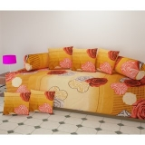SHAKRIN Polycotton Diwan Set of 8 Pieces (1 Single Bedsheet with 2 Bolsters and 5 Cushion Covers) Teddy Bear Design