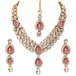 Fashion Gold Plated Pink Kundan Traditional Necklace