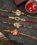 Designer Multicolor Rakhi Set  (4 Rakhi)