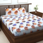 152 TC Cotton Double Abstract Bedsheet  (Pack of 1, White)