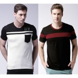 Stylogue Pack of 2 Men's Multicolor Round Neck T-shirt