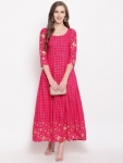 Only at Rs. 584 Women Checkered Rayon Flared Kurti