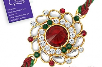 raksha bandhan  Sukkhi Elegant Kundan Rakhi with Roli Chawal and Raksha Bandhan Greeting Card For Men (RAK73480)