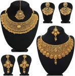 Sukkhi Glamorous Gold Plated Choker Necklace Set Combo