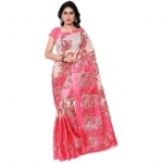 SVB Sarees Pink Taffeta Silk Printed Saree Without Blouse Piece