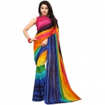 Swaron Multi Georgette Printed Saree With Blouse