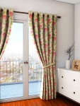 Cream-Coloured Single Floral Print Regular Door Curtain