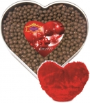 Skylofts sweet Chocolate coated Butterscotch Nutties 400gms Heart Box with A cute heart stuff toy Combo  (400gms)