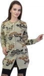 Floral Print Round Neck Casual Women Beige Sweater