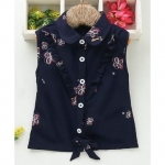 TBB Tie Knot Style Collar Neck Top Floral Print