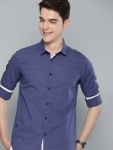 The Humbl Co. Men Blue & Pink Slim Fit Striped Casual Shirt