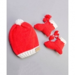 The Original Knit Pom Pom Decorated Cap With Booties