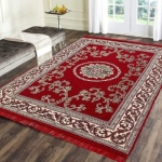 The World Trendz Maroon Cotton Carpet  (138 cm X 213 cm)