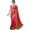 Tiana Creation Pink Embroidered Net Saree With Blouse