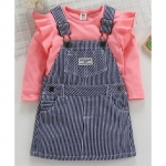 ToffyHouse Full Sleeves Denim Striped Dungaree Style Frock